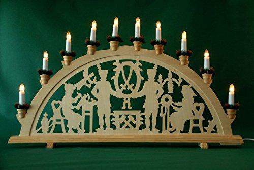 yanka-style XL Schwibbogen Lichterbogen Leuchter Bergleute traditionelles Motiv 70 cm lang 10flammig...
