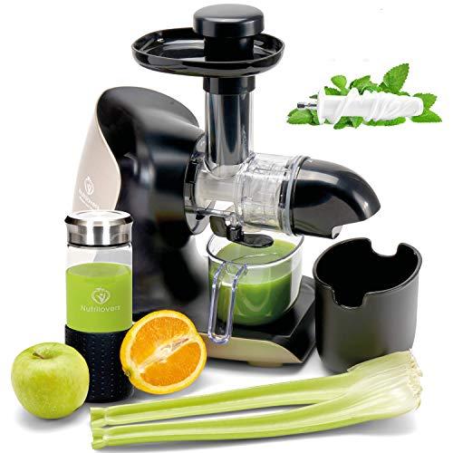 **NEUHEIT** GREEN-PRESS KERAMIK Horizontaler Slow Juicer mit Keramik Pressschnecke BPA-frei | Sellerie,...