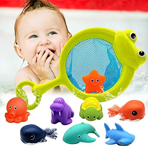 Euyecety Baby Badespielzeug Wasserspielzeug Kinder Badewannen Spielzeug ab 12 Monate, 10 Stück Baden...