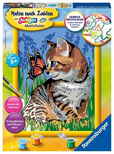 Ravensburger Malen nach Zahlen 28651 - Katze mit Schmetterling - Für Kinder ab 9 Jahren