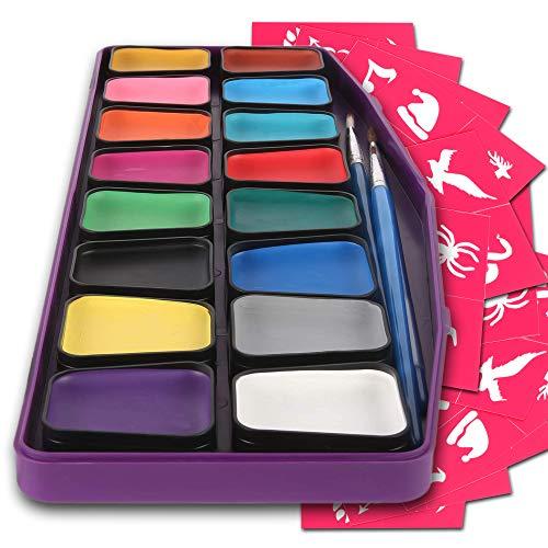 Kinderschminke hypoallergen - Gesichtsmalfarbe Set mit 16 Farben - 3 Pinsel, 30 Schablonen - besonders...