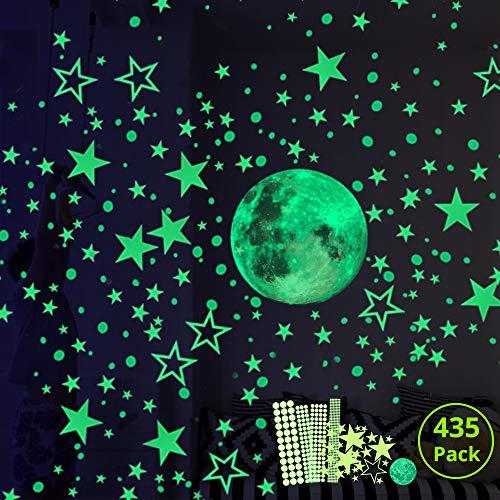 Hauserlin Wandsticker selbstklebend Leuchtsticker Wandtattoo,435 Leuchtsterne/Leuchtpunkte für deinen...