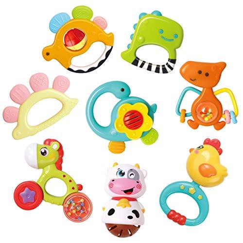 REMOKING Rassel Beißring Spielzeug, Silikon Baby Rassel Beißring Set ohne BPA, Früherziehung Spielzeug für...