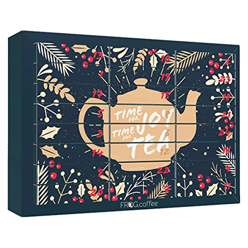 Tee-Adventskalender von FROG.coffee | Doppelter Genuss - 48 Teebeutel | Teekanne, ChariTea, Meßmer, Cupper,...