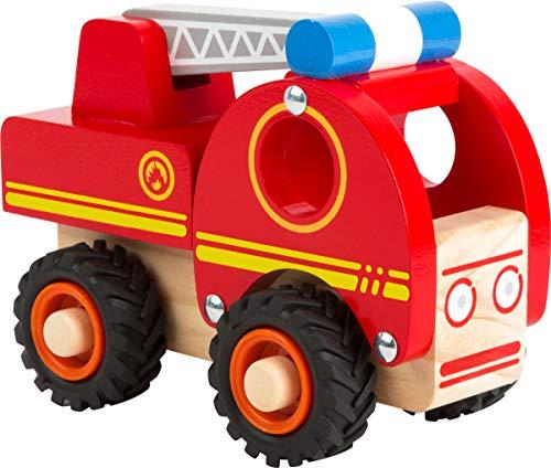 small foot 11075 Feuerwehrfahrzeug aus Holz, gut greifbar, mit gummierten, bodenschonenden Rädern, ab 18...