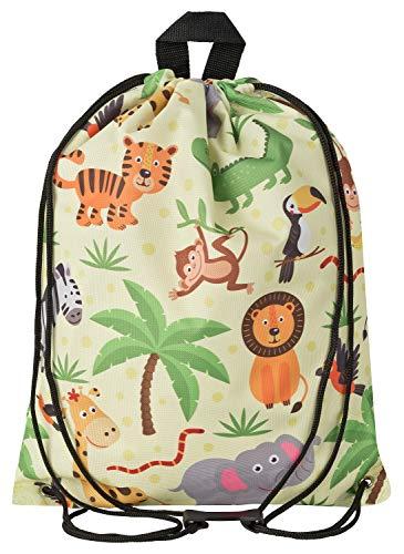 Aminata Kids Dschungel Turnbeutel für Kinder aus Nylon, reflektierend & wasserabweisend - unser Kindergarten...