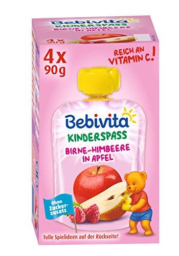 Bebivita Kinder-Spaß, Birne-Himbeere in Apfel, 4er Pack ( 4 x 4 x 90 g )