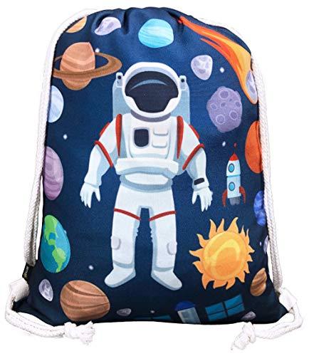 HECKBO® Kinder Turnbeutel mit Astronaut Weltraum Motiven Unisex | Kindergarten, Krippe, Reise, Sport |...