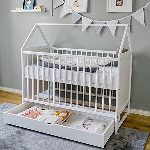 Babybett Beistellbett Kinderbett und Hausbett in einem - 120x60 weiß mit Schublade, höhenverstellbar und...
