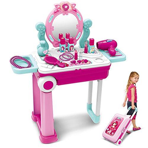 Dreamon 2 in 1 Schminktisch und Koffer Kinder Frisiertisch mit Licht Sound Schönheitsstudio für Mädchen...