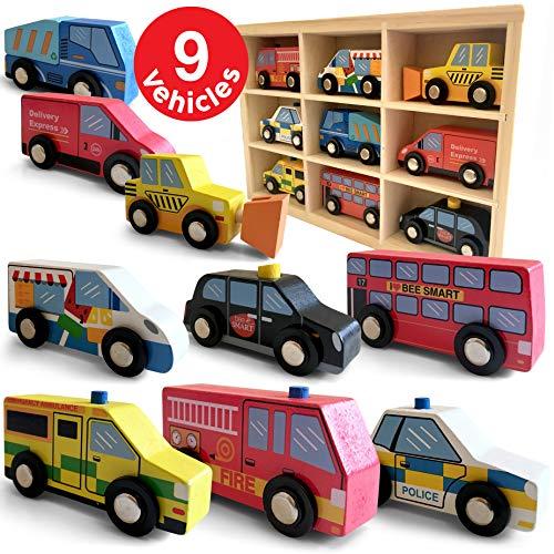 Holzautos 9 Teile Stadtfahrzeuge Fahrzeuge - Holz-Auto Spielzeug-Auto Verkehrspiel mit Holzkiste - inkl....