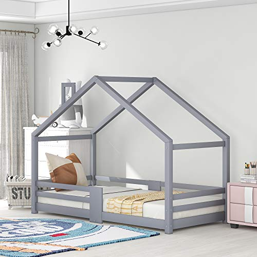 ZOEON Kinderbett 90 x 200 cm mit Rausfallschutz - Hausbett für Kinder mädchen aus Holz im skandinavischen...