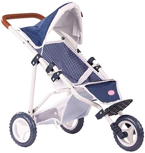 Götz 3403081 3-Rad Puppen-Buggy Denim Dots Puppenwagen - passend Puppen bis 50 cm mit Aufbewahrungskorb und...