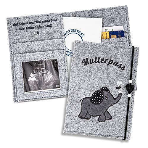 ZWEN Mutterpasshülle Elefant grau - Mutterpasshülle filz für deutschen Mutterpass handmade - Mutterpass...