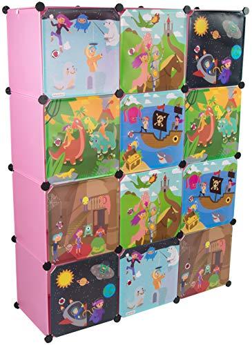 KEKSKRONE Sehr Großer Kinderschrank Bunte Motiv-Türen - DIY Stecksystem - 12 Module je 37 x 37 x 37 cm, Rosa...