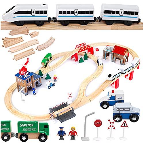 Kinderplay Holzeisenbahn Set - Elektrische Eisenbahn für Kinder, Elektrisch Spielzeug Zug, Polizeistation,...