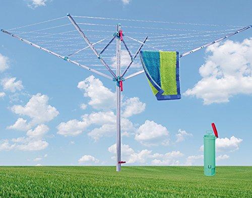 BLOME Wäschespinne Standard Medium Plus - Wäscheständer für den Garten inkl. Bodenhülse mit Deckel,...