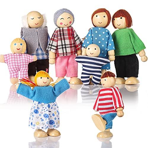 Biegepuppen Puppenhaus Puppen 8 Personen Puppenfamilie für Puppenhaus mit beweglichen Gliedern Puppen für...
