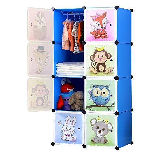 BRIAN & DANY Erweiterbares Kinderregal Kinder Kleiderschrank Stufenregal Bücherregal mit Türen, tiefere...