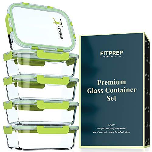 FITPREP® Frischhaltedosen aus Glas 10 teiliges Set [5 Meal Prep Boxen + 5 Deckel mit 880ml ] Premium...