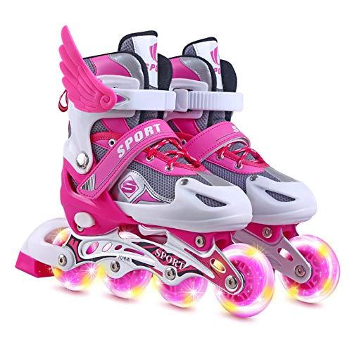 ZQYX Kinder Rollschuhe, Einstellbare Rollschuhe Für Kinder, Quad Skate Design, Sportverstellbare Inline...
