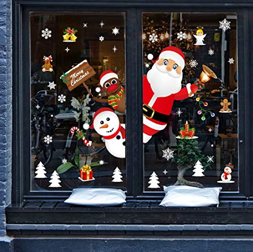 Yuson Girl Weihnachten Aufkleber Fenster Weihnachtsmann Elch Schneemann Abnehmbare Weihnachten Deko Wandtattoo...