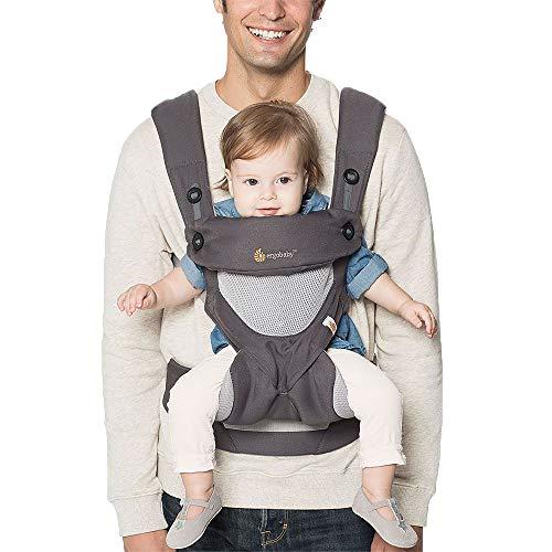 Ergobaby Babytrage 360 Cool Air Mesh Carbon Grey, Ergonomische 4in1 Babytragetasche Baby-Tragesystem...