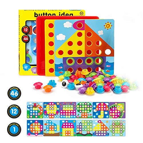 Fansteck Mosaik Steckspiel für Kinder für 1, 2, 3 Jahre, Steckmosaik mit 46 Steckperlen und 12 Bunten...