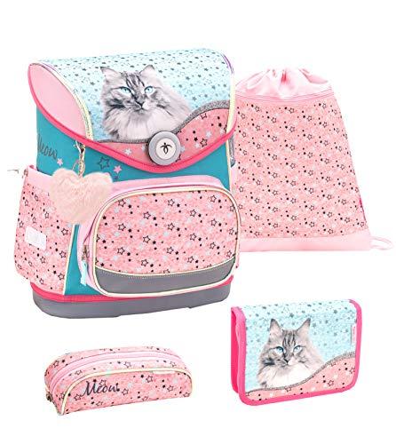 Belmil ergonomischer Schulranzen Set 4 -teilig für Mädchen 1-4 Klasse...
