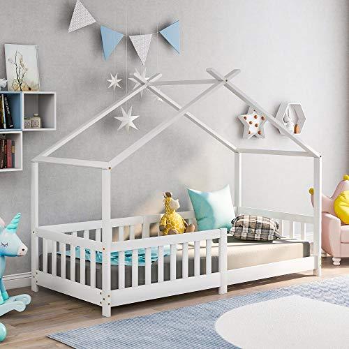 ModernLuxe Kinderbett Hausbett,Vollholz mit Zaun und Lattenrost, mit Rausfallschutz für Kinder- und...