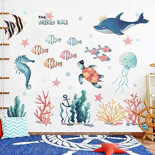 WandSticker4U®- XXL Aquarelle Wandtattoo UNTERWASSERWELT I Wandbilder: 141x118 cm I Fische Ozean Meer Wal...