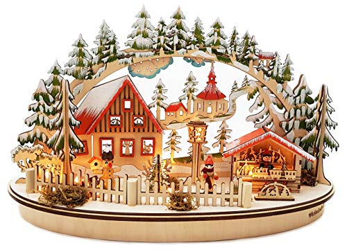 Wichtelstube-Kollektion LED Schwibbogen Oval Weihnachtsmarkt im Erzgebirge Schwippbogen Leuchter