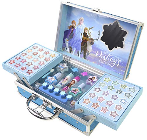 Frozen II Schminkkoffer mit Kinderschminke im Anna & Elsa Design, Haarschmuck, Ringe, Zehentrenner,...