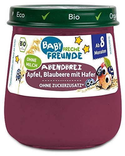 Freche Freunde Bio Gläschen Abendbrei Apfel, Blaubeere mit Hafer, für Babys ab 8 Monaten, ohne Zucker- und...