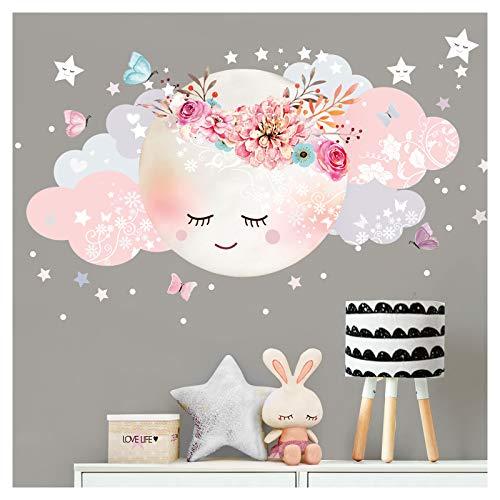 Little Deco Wandsticker Mond & Wolken I Weiß/Rosa L - 60 x 31 cm (BxH) I Kinderzimmer Wandtattoo Mädchen...