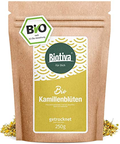 Kamillen-Blüten Tee Bio 250g - Hochwertigste ganze Bio-Kamillenblüten - Bio-Kamillen-Tee - Abgefüllt und...