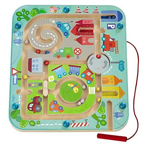 Haba 301056 - Magnetspiel Stadtlabyrinth, pädagogisches Holzspielzeug für Kinder ab 2 Jahren, schult die...