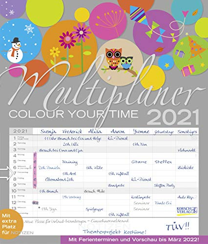 Multiplaner - Colour your time 2021: Familienplaner, 7 breite Spalten. Großer Familienkalender mit...