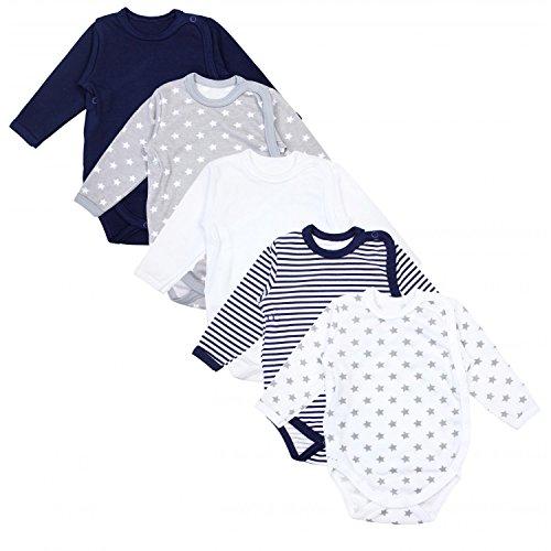 TupTam Baby Unisex Langarm Wickelbody Print/Uni 5er Pack, Farbe: Mehrfarbig, Größe: 74