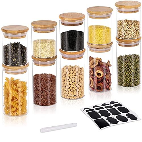 GoMaihe 250ML + 350ML Vorratsdosen 10er Set, Vorratsdosen Glas Gewürzgläser Luftdicht Glasbehälter aus...