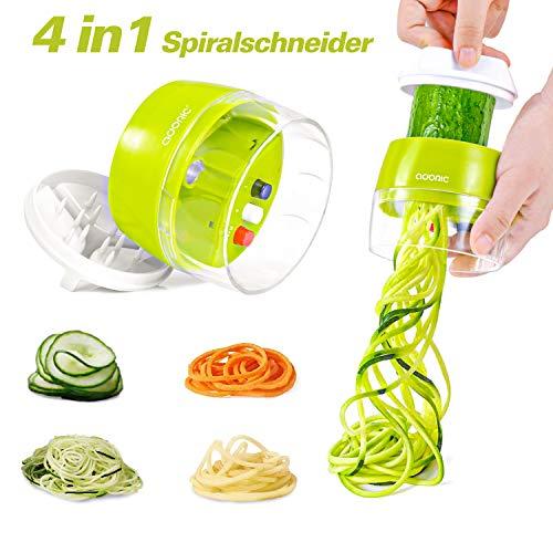 Adoric Spiralschneider Hand [ 4 in 1 ] Gemüse Spiralschneider, Gemüsehobel für Karotte, Gurke,...
