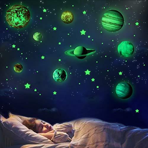 Planeten Sterne Wandsticker Leuchtaufkleber Leuchtsticker Fluoreszierend Wandaufkleber Geschenk für Kinder...