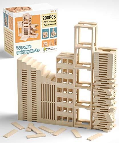 QNINE Holzbausteine Natur Holzbaukasten 200 teilig, Holzsteine zum Bauen, Holzklötze Baby ab 1 Jahr,...