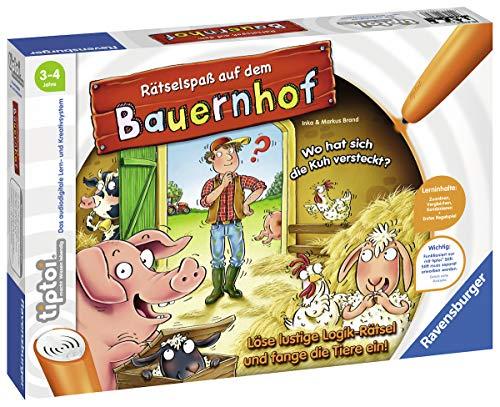 Ravensburger tiptoi Spiel 00830 Rätselspaß auf dem Bauernhof - Lernspiel ab 3 Jahren, lehrreiches Logikspiel...