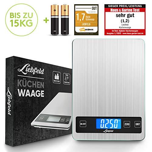 Liebfeld - Digitale Küchenwaage bis 15kg aus Edelstahl mit großer Wiegefläche + 2 Batterien I...