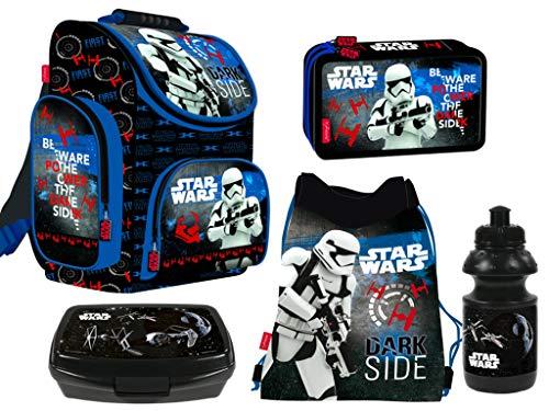 Star Wars 5-Teile Schulranzenset Schulranzen, Federmäppchen 2-Fach gefüllt, Turnsack, Lunchbox, Trinkflasche...