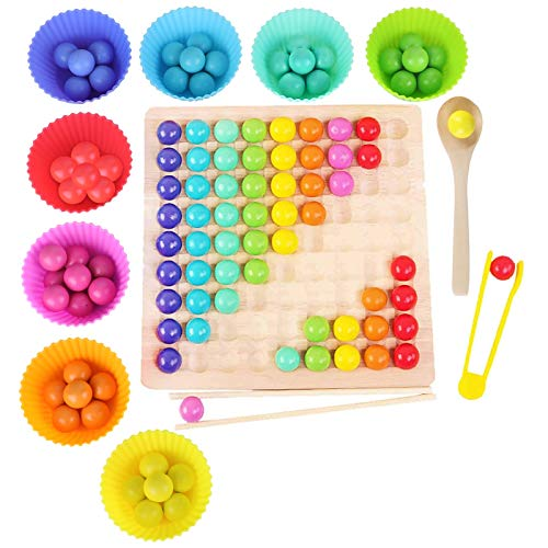 Montessori Spielzeug, GUBOOM Holz Clip Beads Brettspiel, Montessori Brettspiel, Wooden Puzzle, Regenbogen...