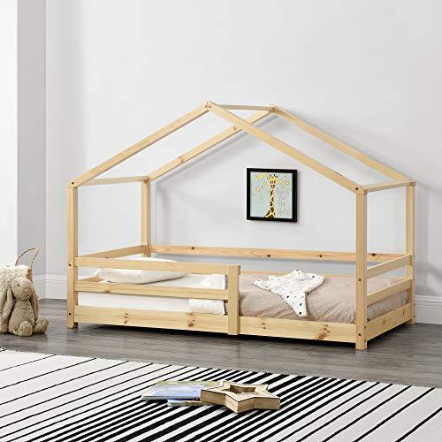 Kinderbett mit Rausfallschutz 90x200 cm Bettenhaus Hausbett Holz
