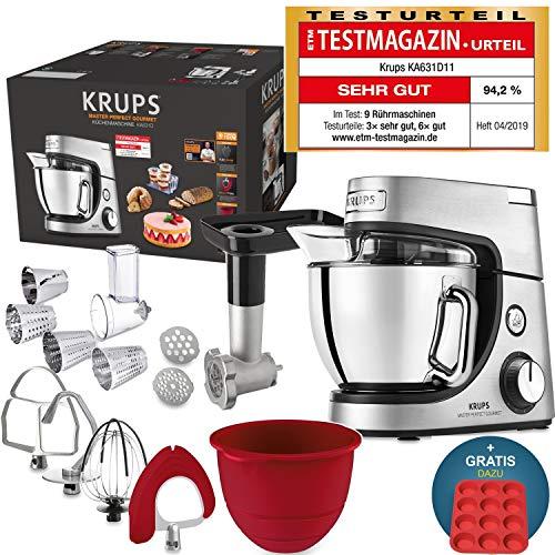 Krups Premium Küchenmaschine 17 teilig, 4,6L Edelstahlschüssel, Silikonschüssel, 4 Rührwerkzeuge...