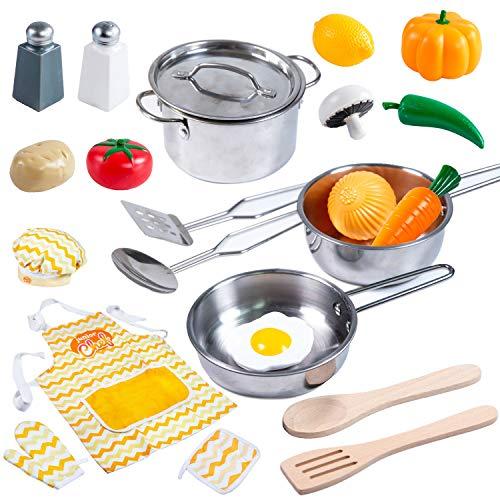 JOYIN Küchenspielzeug Küche Pretend Spielzeug mit Edelstahl Kochgeschirr Töpfe und Pfannen Set, Schürze,...